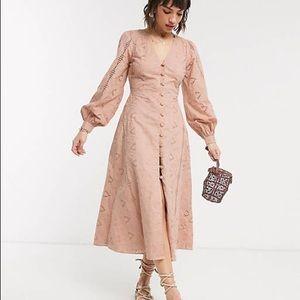 ASOS design broderie button through midi tea dress